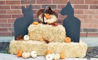 wooden black cat halloween decor, crafts, halloween decorations, seasonal holiday decor