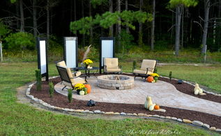backyard ideas firepit outdoor furniture makeover, concrete masonry, landscape, outdoor living, repurposing upcycling