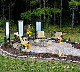 Backyard Ideas Firepit Outdoor Furniture Makeover, Concrete Masonry,  Landscape, Outdoor Living, Repurposing