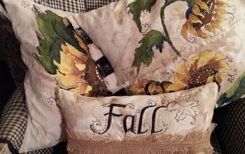 painting pillow fall sunflowers burlap, crafts, painting