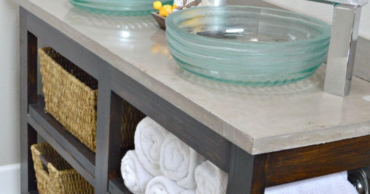 Build An Open Shelf Bathroom Vanity | Hometalk