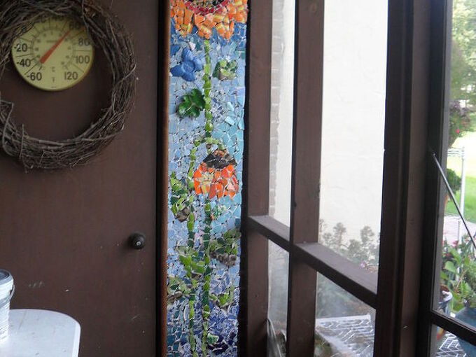 tillng broken pottery mosaic, crafts, porches, tiling, wall decor