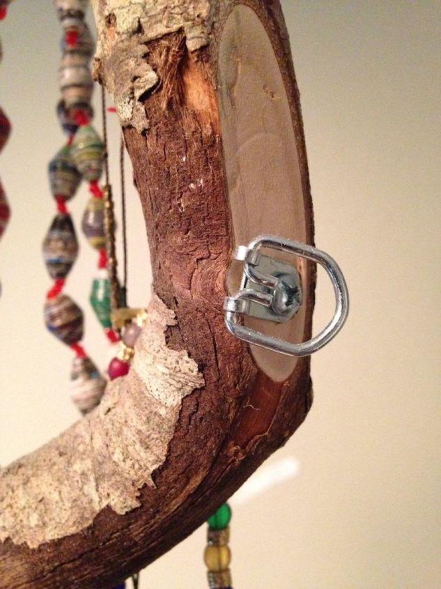 found stick jewelry hanger, crafts, organizing