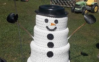 snowman decoration winter tire upcycle, christmas decorations, home decor, seasonal holiday decor