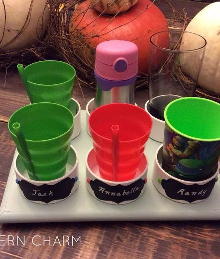 diy kiddie cup caddy, chalkboard paint, crafts, organizing, repurposing upcycling