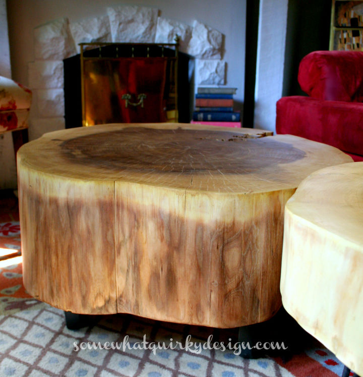 Diy Table From Large Tree Slices Hometalk