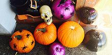 halloween decoragtions spray paint pumpkins, halloween decorations, painting, seasonal holiday decor, Spray paint pumpkins for an easy HOT new look