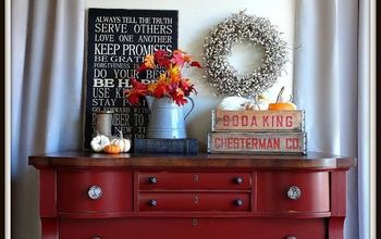 painted furniture vintage lowboy tuscan red, diy, painted furniture, woodworking projects