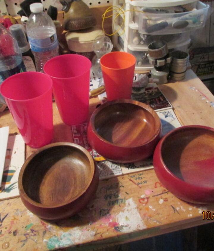 garden art mushrooms glasses bowls craft, crafts, gardening, repurposing upcycling