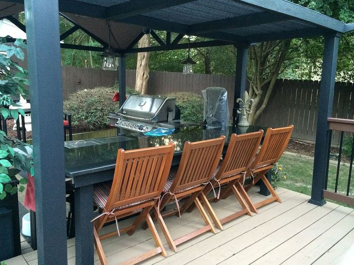outdoor kitchen entertaining area, decks, landscape, outdoor furniture, outdoor living