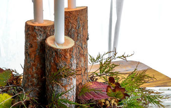 fall centerpiece rustic wood candles, crafts, seasonal holiday decor
