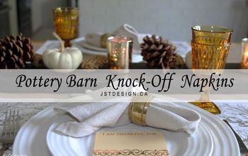 pottery barn knock off napkins fall table setting, home decor, seasonal holiday decor