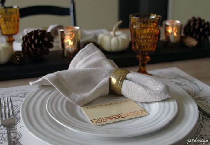 pottery barn knock off napkins fall table setting, home decor, seasonal holiday decor