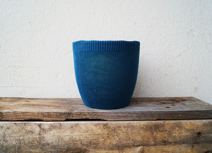 a flower pot with sweater, container gardening, crafts, repurposing upcycling