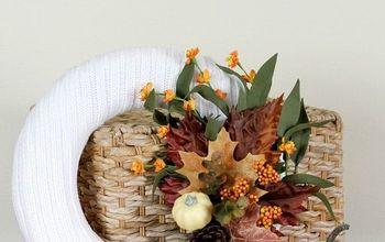 Repurposed Sweater Wreath for Fall