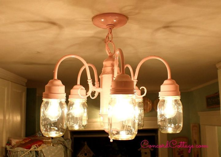 mason jar chandelier shabby chic, diy, kitchen design, lighting, mason jars, painting