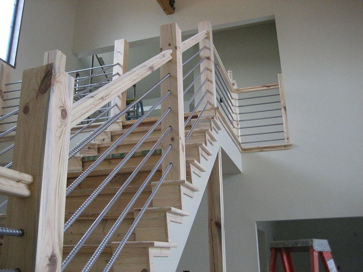 woodworking home cable rail staircase, diy, stairs, woodworking projects