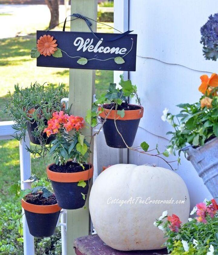 topsy turvy planter fall buckets deck, container gardening, decks, gardening