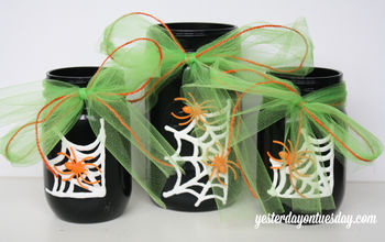 mason jar vase spider web halloween decoration, crafts, halloween decorations, mason jars, painting, repurposing upcycling, seasonal holiday decor