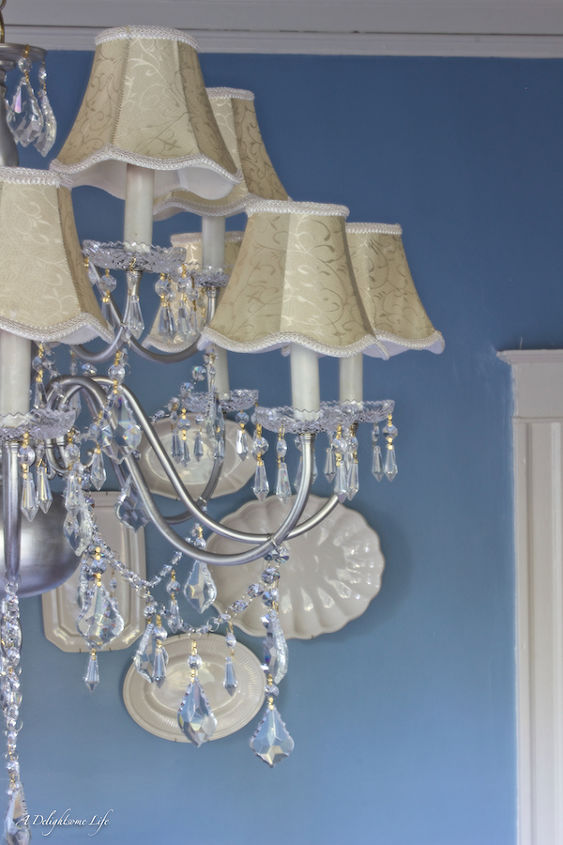 upcyling chandelier french crystal, home decor, lighting, painting, repurposing upcycling