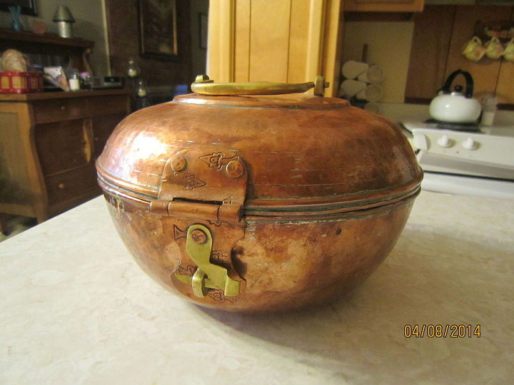 does anyone know what this pot is used for, copper pot with hinged lid and clasp