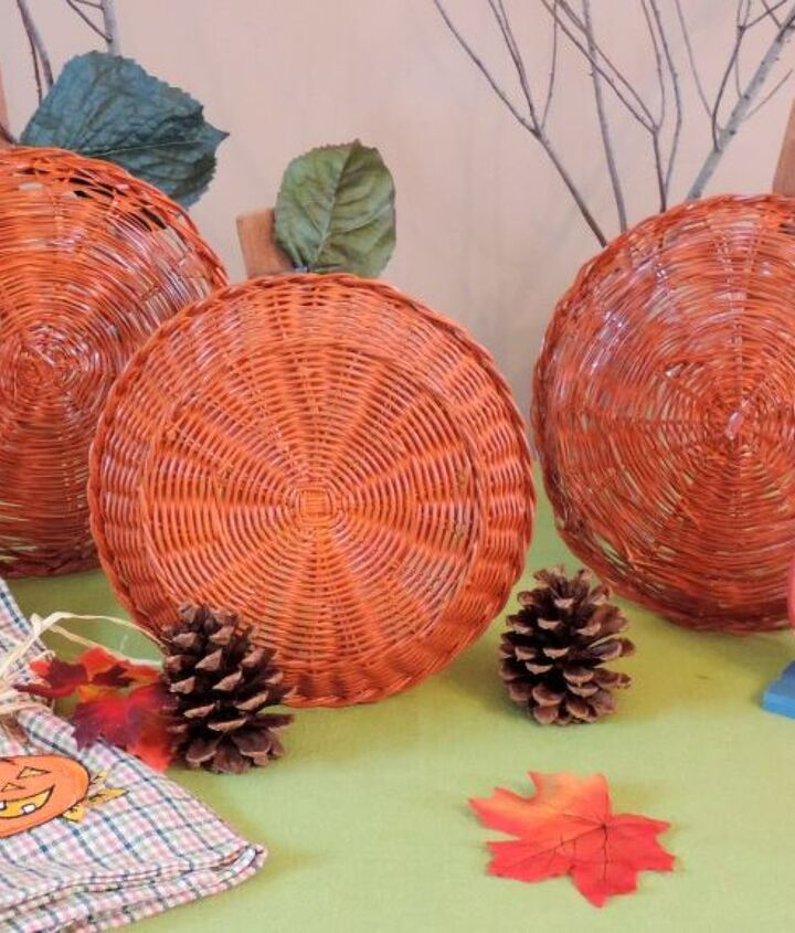 fall crafts upcycled basket pumpkin, crafts, repurposing upcycling, seasonal holiday decor