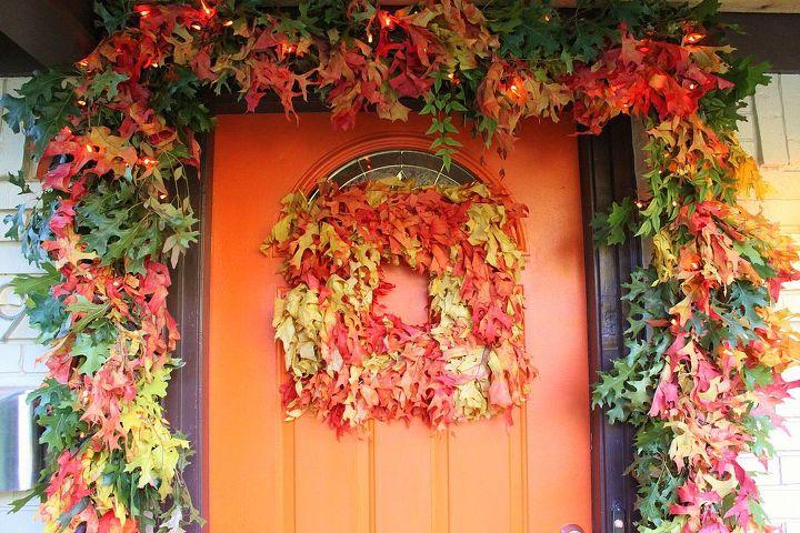 wreaths autumn leaf garland, crafts, halloween decorations, seasonal holiday decor