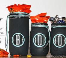mason jars painted boo halloween candy jars, crafts, halloween decorations, mason jars, repurposing upcycling, seasonal holiday decor