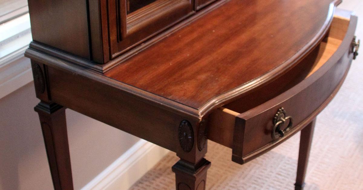 with asian vintage ornate antique trim brass desk secretary product