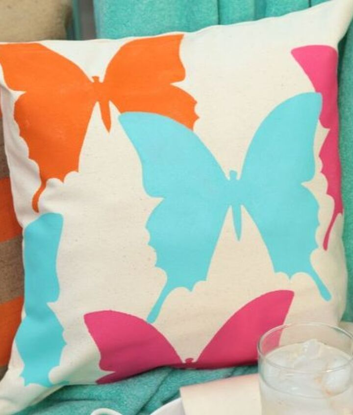 tulip for your home butterfly pillow stencil tutorial, home decor, painting, reupholster