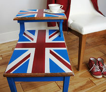 painted furniture union jack step table, diy, painted furniture