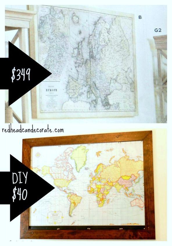 diy custom framed world map, crafts, home decor