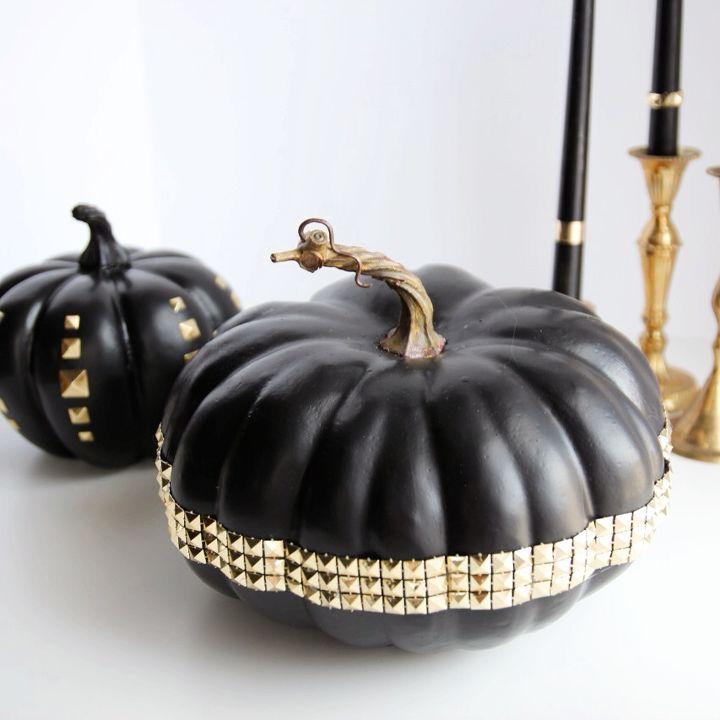 diy studded pumpkins, crafts, seasonal holiday decor