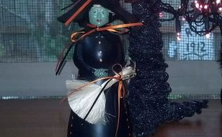 crafts halloween mrs butterworth jar witch, crafts, halloween decorations, repurposing upcycling