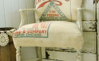 upholstery antique chair feed sack makeover, painted furniture, repurposing upcycling, rustic furniture, reupholster
