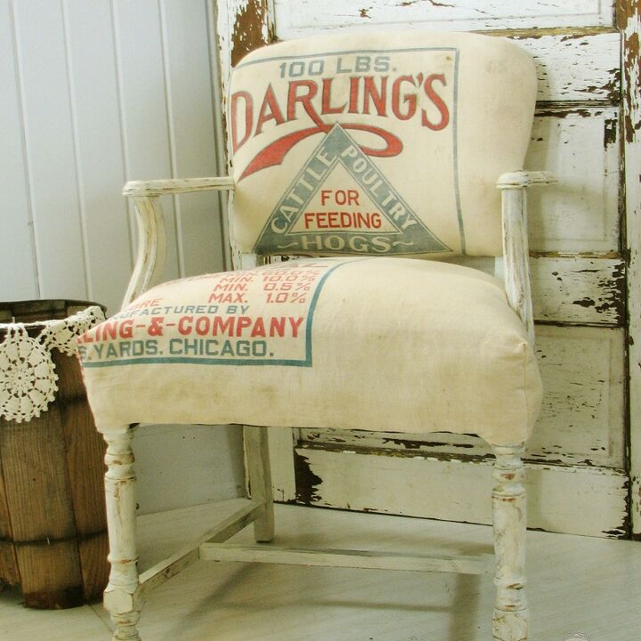 upholstery antique chair feed sack makeover, painted furniture, repurposing  upcycling, rustic furniture, - Antique Chair Gets Feed Sack Upholstery Hometalk