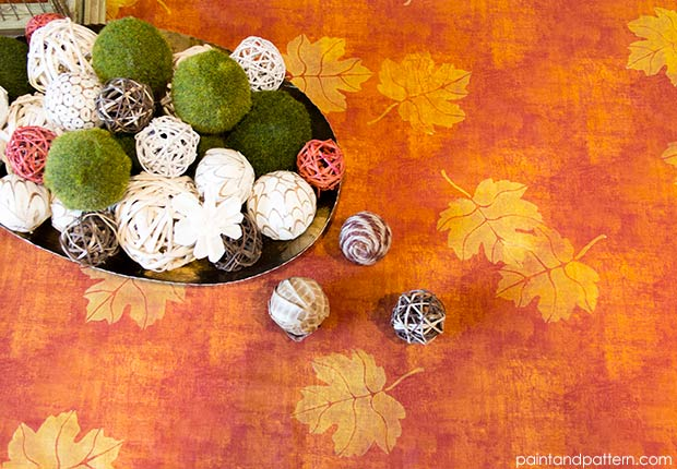 how to stencil discharge paste autumn tablecloth, crafts, how to, painting, seasonal holiday decor
