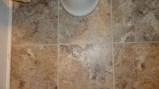diy grouted vinyl tiling, bathroom ideas, home decor, tile flooring, tiling, We did this in our daughters bathroom and it looks great and looks like we just put it down We did not put down a sealer and we have had no problem it s two years old Our daughter washes her dogs in that bathroom and we haven t s