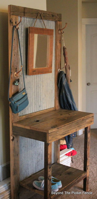 Rustic reclaimed hall tree hometalk for Rustic home decor and woodworking