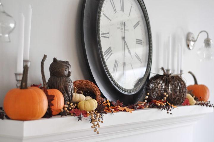 fall mantel rustic easy decor, fireplaces mantels, home decor, seasonal holiday decor