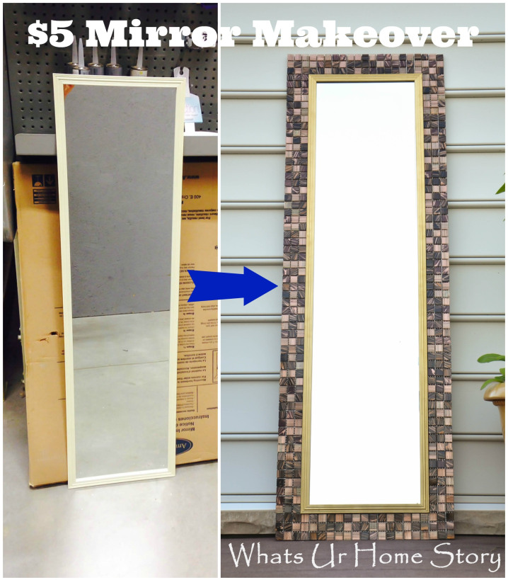 tiling border mirror, crafts, repurposing upcycling, tiling