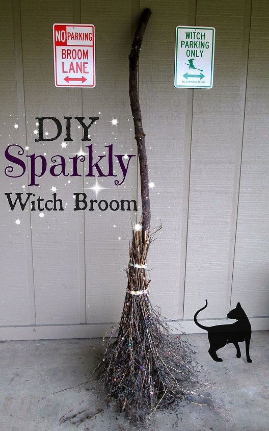 halloween decorattion sparkly witch broom, crafts, halloween decorations, seasonal holiday decor