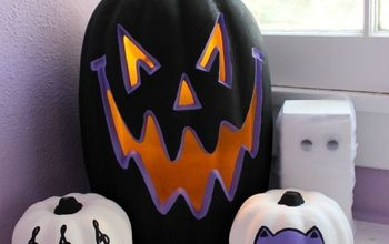 painted pumpkins in purple black, crafts, halloween decorations, painting, seasonal holiday decor