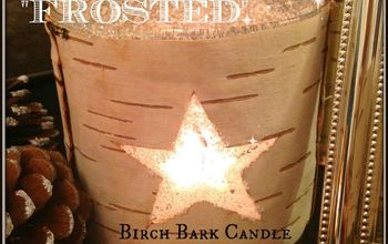 """Festive """"Frosted"""" Birch Bark Candle Holder"""