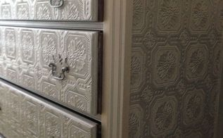 dresser makeover metallic silver paint textured wallpaper, diy, home decor, painted furniture, wall decor