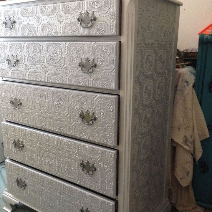 Dresser Makeover Metallic Silver Paint Textured Wallpaper Diy Home Decor Painted Furniture