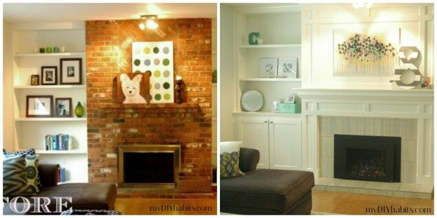 transformed fireplace with plinth