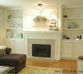 Our Transformed Fireplace Before After, Diy, Fireplaces Mantels, Living  Room Ideas, Shelving