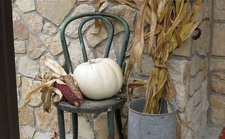 fall front porch decor flea market finds, crafts, home decor, porches, repurposing upcycling, seasonal holiday decor, Fall Front Porch using flea market bargains