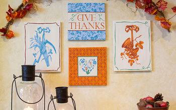 thanksgiving diy stencil a fall gallery wall, crafts, seasonal holiday decor, thanksgiving decorations